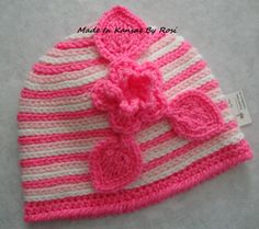 Crochet stripes with flower and leaves, from Made In Kansas By Rosi... on facebook.