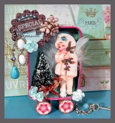 Altered Art Altoids Tin Transformed into a Winter Fairy Retro Whimsical Pull Toy