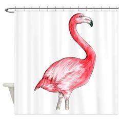 Flamingo Watercolor Shower Curtain on CafePress.com