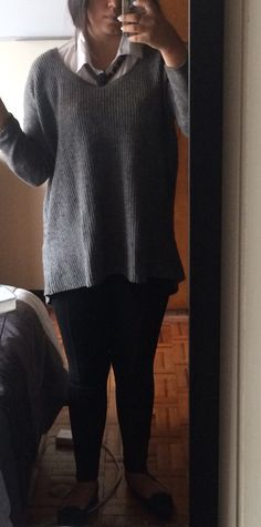 Back to basics. Grey sweater, white shirt, black pants and flats