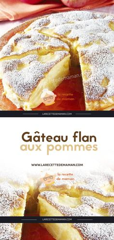 Apfelkuchen Flan - Ideas (i will organize this once school is over) - Bolo Flan, Flan Cake, Homemade Cake Recipes, Apple Recipes, Sweet Recipes, Cuban Recipes, Homemade Breads, Apple Custard Pie, Easy Desserts