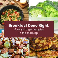 You know, people who eat 7 or more servings of veggies per day have a 42% smaller chance of dying of ANY disease. But how do you get so many servings in? Start the day right—try a veggie scramble, omelet, quiche, frittata... OR just go right for last night's leftovers. How about a yummy hash with cauliflower, sweet potato, carrots, and leeks? Or zucchini and carrot pancakes? Do breakfast right, baby!   #BoneBrothDiet #HealthyLifestyle #EatGreen #HealthyChoices #BoneBrothLIfe #DiseaseFree