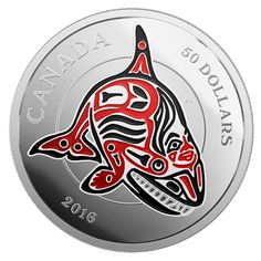 5 oz. Fine Silver Coin with Enamel - Mythical Realms of the Haida Series: The Orca - Mintage: 1,500 (2016)