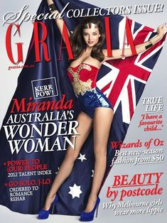 The Grazia Australia cover featuring Miranda Kerr made up as Wonder Woman has been awarded the 2012 Magazine Cover of the Year - Aus Grazia Magazine, Magazine Mode, Magazine Covers, Miranda Kerr Dress, Celebrity Photoshop Fails, Worst Celebrities, Happy Australia Day, Comic Book Heroines, Comic Books