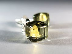 *Hand Crafted* Ice Square (Black Gold)- Artisan Fused Art Colored Glass Earrings- Sterling Silver