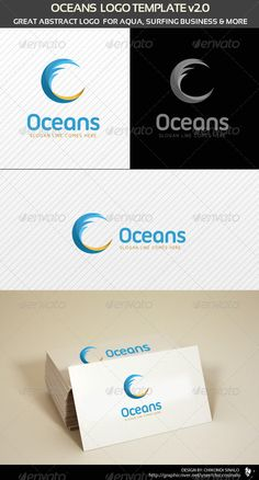 Oceans Logo Template — Photoshop PSD #logo #ocean • Available here → https://graphicriver.net/item/oceans-logo-template/1538473?ref=pxcr