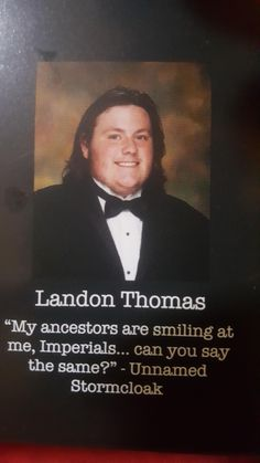 Little sister just handed me her new yearbook. This quote stood out amongst the others Skyrim Quotes, Elder Scrolls Memes, Funny Things, Funny Stuff, Dark Brotherhood, Bethesda Softworks, Humor Humour, Senior Quotes, Image Fun