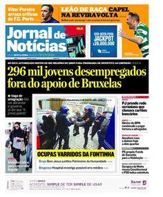 Capa do JN de hoje, sexta-feira, 20 de abril. Destaque para a vitória do Sporting na Liga Europa e para o rescaldo dos incidentes de ontem no Alto da Fontinha, no Porto.