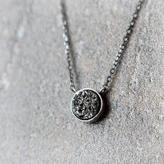 Tiny Black Druzy Necklace Drusy necklace Sterling by laonato, $42.00