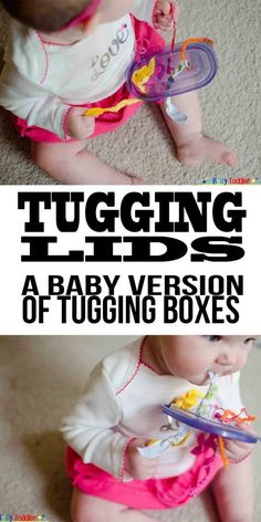 Tugging Lid for Baby Playtime – Busy Toddler Tugging Lid: A baby version of tugging boxes Baby Sensory Play, Baby Play, Baby Toys, Diy Sensory Toys For Babies, Baby Sensory Bags, Montessori Baby, Montessori Bedroom, Toddler Play, Toddler Learning