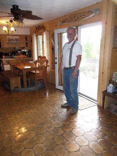 Steve Lee is rightly proud of his cordwood floor.