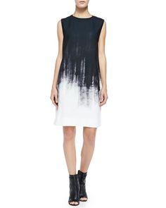 Sleeveless Brushstroke Shift Dress by Vince at Neiman Marcus.