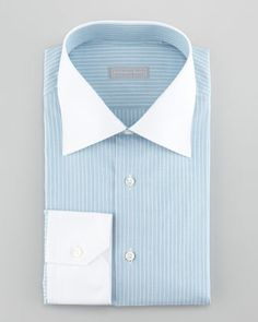 Contrast-Collar 3-Row Stripe Dress Shirt, Aqua by Stefano Ricci