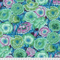 Kaffe Fassett fabric Phillip Jacobs Spring 2018 Poppy Garden Floral Green purple blue Cotton Sew Quilt by yard freespirit Maroon Background, Background Pictures, Free Spirit Fabrics, Pink Poppies, Blue Orchids, Thing 1, Cotton Quilting Fabric, Colorful Garden, Quilt Kits