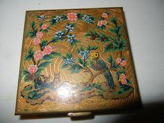 Vintage Powder Compact VOLUPTE Engraved Enamel Flowers Trees Rabbits Bird Lipstick Holder, Flowering Trees, Rabbits, Compact, Powder, Bucket, Enamel, Birds, Flowers