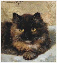 Henriette Ronner (Dutch, 1821-1909). A Little Kitten. 1896.