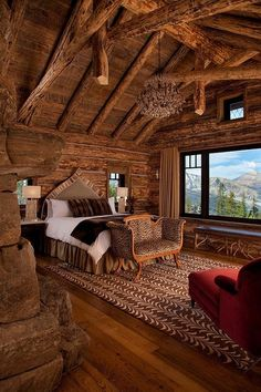 rustic cabin bedroom with gorgeous view Log Cabin Living, Log Cabin Homes, Log Cabins, Cabin Loft, Log Cabin Bedrooms, Rustic Bedrooms, Log Home Bedroom, Cozy Cabin, Beautiful Bedrooms