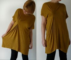 Learn How to Make a Tunic with this surprisingly easy tutorial on how to refashion a shapeless garment into a brand new wearable. Read more at http://www.allfreesewing.com/Tops-to-Sew/How-to-Make-a-Tunic#CqPvthTRllZCksAU.99