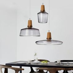 Dresden tinted glass and wood pendant LED ceiling light – Tudo And Co replica lamps - originals by Dreizehngrad, Germany.