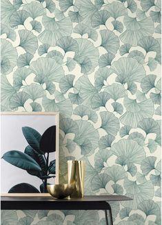 Vinyl Wallpaper on non-woven Green gingko pattern Feng Shui, Vinyl Wallpaper, Green Wallpaper, Nature Wallpaper, Moroccan Decor, 3d Wall, Cool Walls, Wall Decor, Leroy Merlin