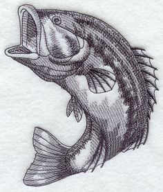 """BASS FISH # 4 THIS FUN DESIGN FEATURES A 5"""" X 6"""" SKETCH OF A LARGE MOUTH BASS FISH MACHINE EMBROIDERED ON MEN'S SWEATSHIRTS OR TEE SHIRTS."""