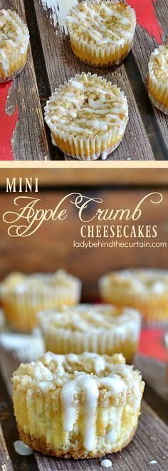 Mini Apple Crumb Cheesecakes  apple pie, easy entertaining, cheesecake, make ahead dessert