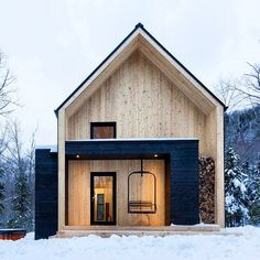 """""""cargo architecture has clad villa boreale in #quebec with black metal and white…"""
