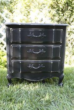 Black Shabby Chic Style / Paris Chic Mini Dresser / Large Nightstand --- NEW