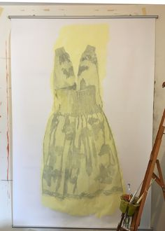 210 cm x 152 cm drawing and acrylic on paper - one of a series of dress inspired by a painting by Rachel Baes and by children in Spain dressed in their Easter Best.