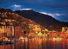 Bergen Norway: inner harbor at sunset