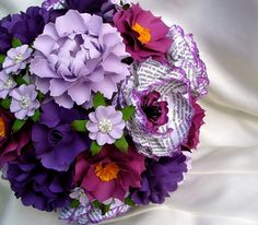 50 Shades Of Purple! Handmade Paper Flower Wedding Bouquet  designed by DragonflyExpression. book pages, french book, purple, lilac, plum