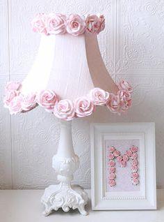Pink Dupioni silk & Roses Table lamp