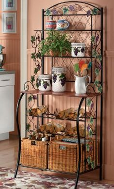Clever 17 Best Images About Ideas For Decorating Bakers Rack On, Best Collection Decorate Bakers Rack Bakers Rack Decorating, Tuscan Decorating, Bakers Rack Kitchen, Farmhouse Bakers Racks, Kitchen Storage, Wrought Iron Decor, Iron Furniture, Rack Design, Vintage Kitchen Decor