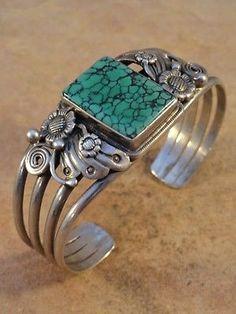Vintage Pawn Spider Web Turquoise & Sterling Silver Bracelet