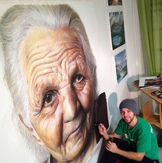 """""""Old lady with white hair"""" drawing by Dino Tomic in his Norwegian home art studio #workspace."""
