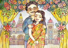 illustrator Samarskaya Milana  #watercolor #wedding #love #india #flowers #illustration #иллюстрация #акварель #любовь #свадьба #misamarskaya
