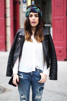 moto, shredded jeans and headband Who What Wear, Girl Fashion, Fashion Outfits, Womens Fashion, Style Fashion, Casual Outfits, Mode Style, Style Me, Outfit Invierno