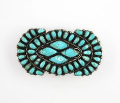 Navajo Larry Moses Begay LMB Sterling Petit Point Turquoise Hair Clip Barrette