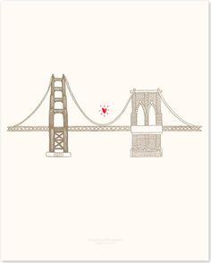 rose new york city: Golden Gate Bridge ♥ Brooklyn Bridge Sketch Inspiration, Tattoo Inspiration, Wedding Inspiration, Bridge Tattoo, Body Map, Animal Silhouette, World Best Photos, Quote Prints, Brooklyn Bridge