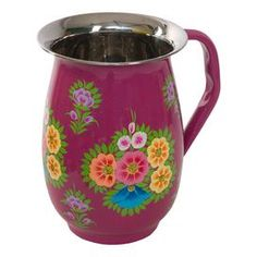 The Milly Jug brings floral hues and fine design to your kitchen décor. Adorned with vibrant blossoms, this lovely design showcases a vibrant fuchsia hue and classic silhouette.     Product: Jug Construction Material: Stainless steel Color: Fuchsia  Size: 7 Diameter x 5 D  Cleaning and Care: Rinse in cold water