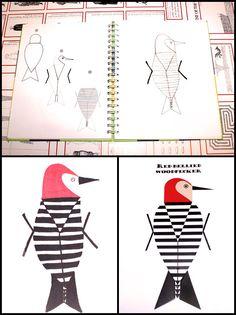 Charley Harper Sketchbook Redbellied Woodpecker