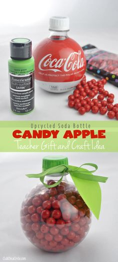 Upcycled soda bottle candy apple teacher gift and craft idea