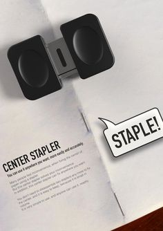 Center Stapler by Daehyun Kwon - This stapler can staple the middle section of a book.