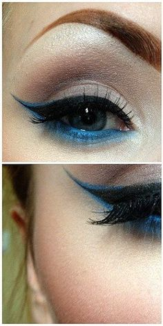 Black liquid liner w. Blue accenting - A pretty, ethereal look                                                                                                                                                                                 Más