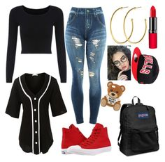 """""""Mercedes WWE High RD💎💎💎"""" by amesqueda ❤ liked on Polyvore featuring LE3NO, Converse, Dyrberg/Kern, Rimmel, New Era, JanSport and Moschino"""