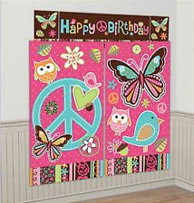 HIPPIE CHICK Scene Setter HAPPY BIRTHDAY party wall decoration kit 6' peace sign