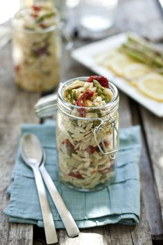 Spring Vegetable Orzo Pasta Salad and what a cute serving idea!
