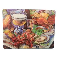 "12""+x+15.5""+Louisiana+Seafood+Tempered+Glass+Cutting+Board"