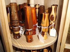 More duck calls. Goose Calls, Duck Calls, Hunting Accessories, Wood Turning, Woodworking, Display Cases, Whistles, Cool Stuff, Wall Shelves