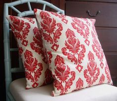 Red and Ivory Damask Pillow Covers 16 x 16- Set of 2. $28